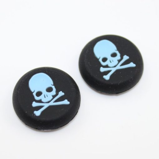 Silicone Gel Controller Blue Skull Thumb Grips