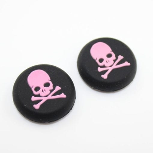 Silicone Gel Controller Pink Skull Thumb Grips