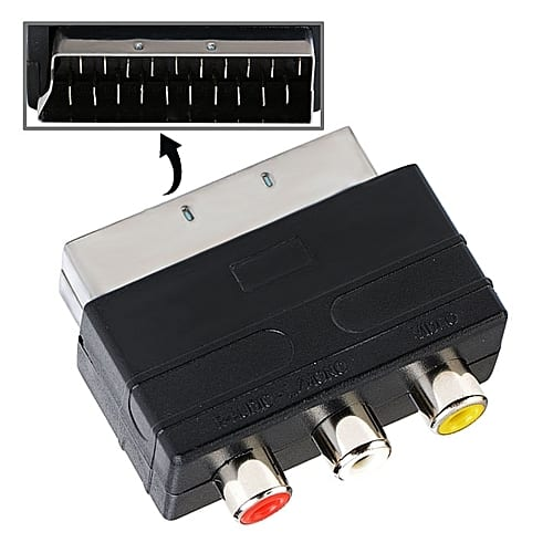 Scart Adaptor Male Plug to 3 RCA Female AV Audio Video Converter TV DVD Console