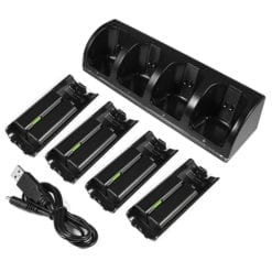 Nintendo Wii Remote Controller Dual Charging Dock Charge Station with Batteries Black 2