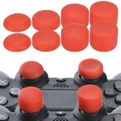 8 pcs Anti Slip Thumb Stick Grips Thumb Sticks Joystick Cap Cover for PS4 PS3 Switch Pro Xbox one Xbox 360 Wii U PS2 Controller red