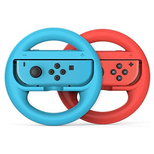 Nintendo Switch 2 Piece Joy-Con Steering Wheel Grip Set in Red and Blue